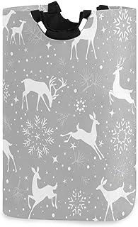 ZOMOY Grand Organiser Paniers pour Vêtements Stockage,Magnifique Motif sans Couture de Noël Cerfs Magnifiques,Panier à Lin...