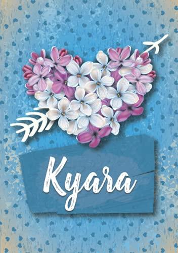 Kyara: Cuaderno de notas A5 | Nombre personalizado Kyara | Regalo de cumpleaños para la esposa, mamá, hermana, hija .. | Diseño: Lilas corazon | 120 páginas rayadas, formato A5 (14.8 x 21 cm)