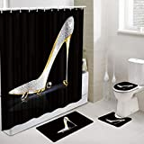 JAWO Girly Decor Shower Curtain and Bath Mat Set 69x70 Inch, Fashion Lady High Heel Shoe with Diamonds Bathroom Curtain with Hooks, Bathroom Mat Set with Contour Rug, Mat and Toilet Lid Cover