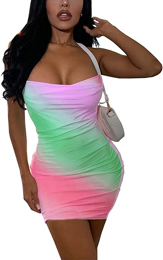 IyMoo Tie Dye Dress Sexy Spaghetti Strap Tank Dress Backless Bodycon Club Party Mini Dress for Curvy Women