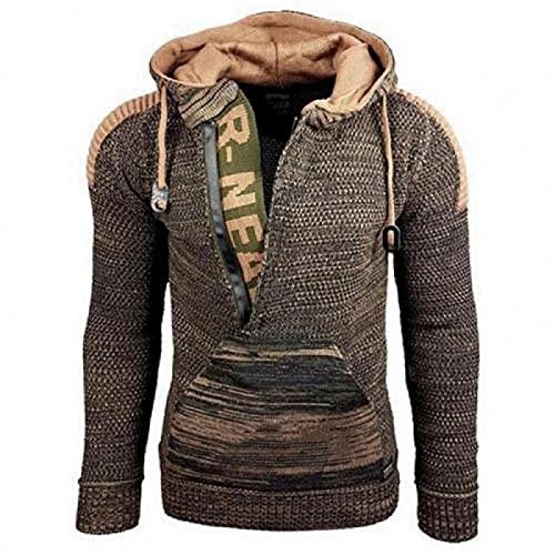 ileibmaoz Sweatshirt Pullover Vintage Winter Warm Strickpullover Hoodies Männer Casual Langarm Lose Kapuzenoberteile Mode Herren Pullover Streetwear L Grünbraun