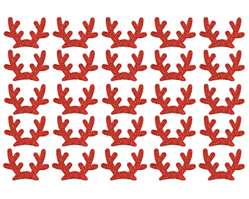 25 Pack Glitter Reindeer Antlers Felt Applique Kits Santa's Elk Antlers Felt Patches Sheets for Dogs Hair Accessories Scrapbook Cake Topper Embellishment Craft Christmas Decorations (Red)
