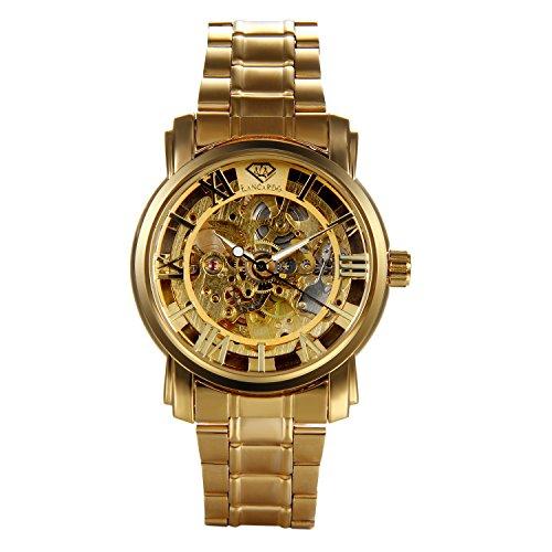 puissant Montre mécanique automatique pour homme Lancardo avec chiffres romains-analogique-bracelet en acier inoxydable doré