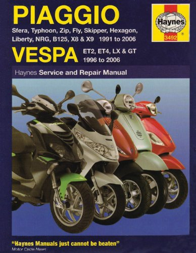 Haynes Service & Repair Manual Piaggio Vespa: Sfera, Typhoon, Zip, Fly, Skipper, Hexagon, Liberty, B125, X8/X9 Scooters for 1991-2009 and Vespa Et2, Et4, Lx and Gt Scooters for 1996-2009: 1991 to 2006