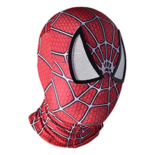 LQ-LIMAO Casco De Spiderman Máscaras para Niños Sombrero Superhéroe Juego Roles Accesorios Cara Completa Adolescentes Disfraces Niñas Halloween Cubrir La Cabeza,Red-Kids