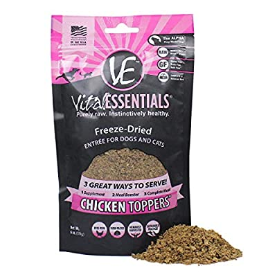 Vital Essentials Freeze Dried Chicken Topper - Meal Mixer for Dogs Or Cats - 100% USA All Natural - All Breeds - Grain Free - Picky Eater Approved - Sprinkle on Kibble or Add Water for Gravy 6 oz, Model:3607