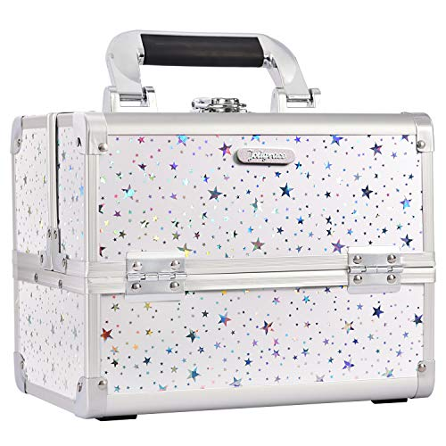 Joligrace Makeup Train Case Cosmetic Storage Jewelry Organizer Lockable with Keys and Mirror 2-Tier Tray Portable Carrying with Handle Travel Storage White Star