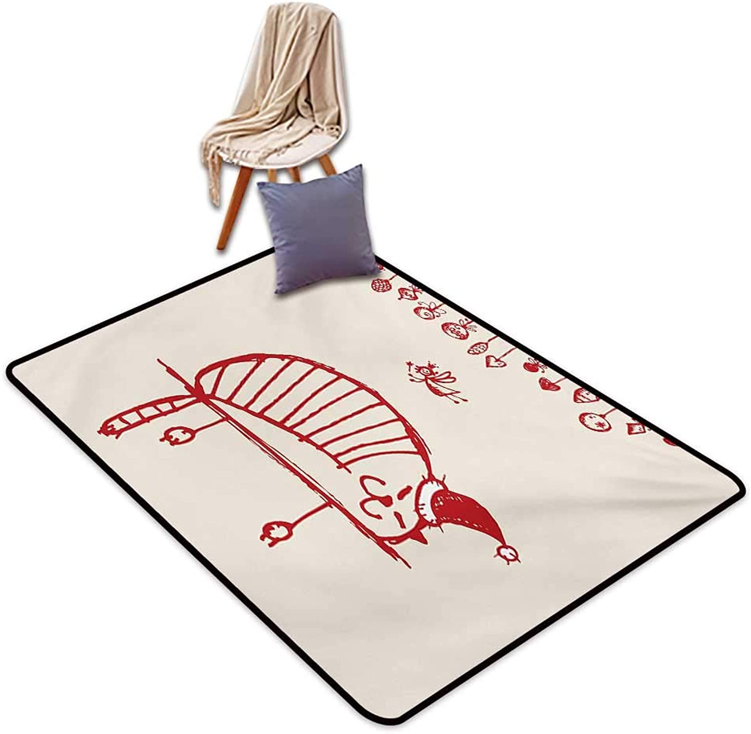 Christmas Entrance Door mat Funny Cat Sleeping with a Hat and Little Fairy Hanging Xmas Ornaments Artistic Style Water Absorption, Anti-Skid and Oil Proof 48  Wx59 L Red