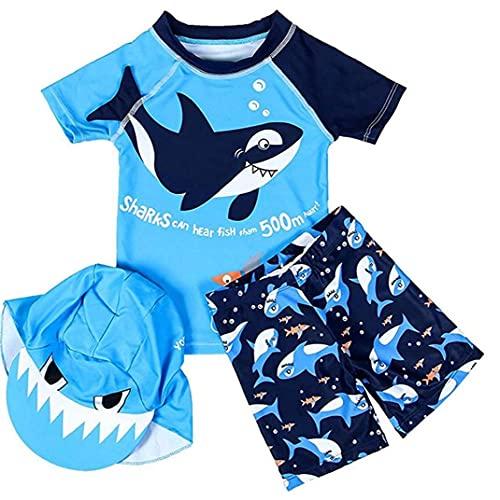 Tuimiyisou Baby Jongens Rash Guard Swimsuit korte mouw Wetsuit Zwembroek met Cap for Boys Blue S 3PCS