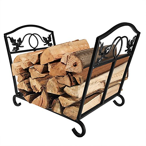 Amagabeli Fireplace Log Holder Wrought Iron Indoor Fire Wood Stove Stacking Rack Logs Bin Firewood Storage Carrier for Outdoor Fireplace Pit Decorative Wood Holders Fire Place Tools Accessories Black
