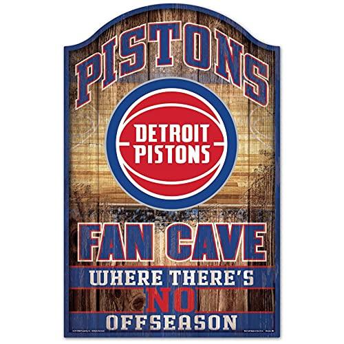 Wincraft 38410012 - Targa in legno NBA Detroit Pistons, 28 x 43 cm, colore: Nero