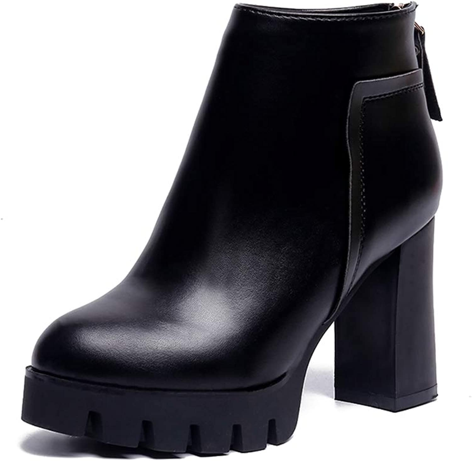 T-JULY Autumn Winter Women Classic Sexy Ankle Boots Leather Platform High Square Heel Booties