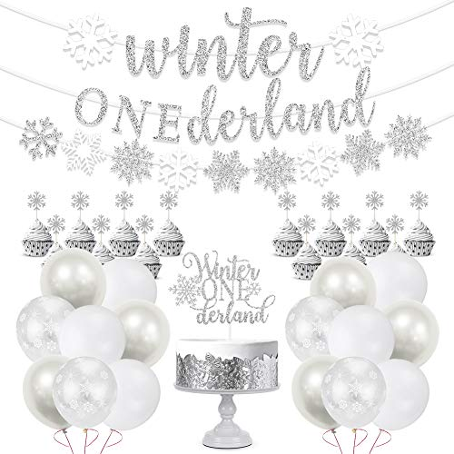 Winter Onederland 1st Birthday Party Decorations, Glitter Silver Winter Onederland Banner, Cake Topper, Snowflake Balloons Garland for Winter Wonderland Baby Girl Boy First Birthday Party Supplies