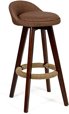 Bar Chair Bar Stool Footstool Stool with Backrest Rotating Seat Linen Cover Kitchen Dining Chair (