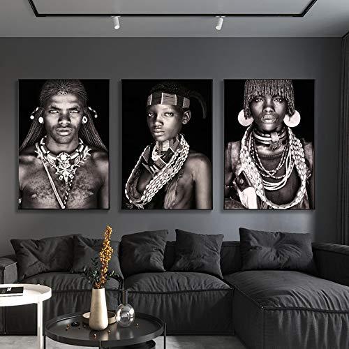 Rumlly Mujeres Tribales africanas Personas Retrato Pared Arte Lienzo PinturaHombresTribalesCarteles e Impresiones decoración para Sala de Estar imágenes 60x90cmx3 sin Marco