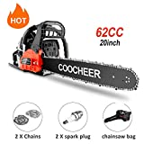 couply 62CC Cordless Chainsaw, 20' Gas Powered Chainsaw with 2 Stroke, Handed Petrol Gasoline Saw Woodcutting Saw for Garden, Farm and Ranch with Tool Kit