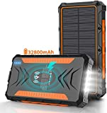 Solar Power Bank 30000mAh, Solar Charger,Portable Charger, Outputs 5V/3A High-Speed & 2 Inputs Huge Capacity Phone Charger for...