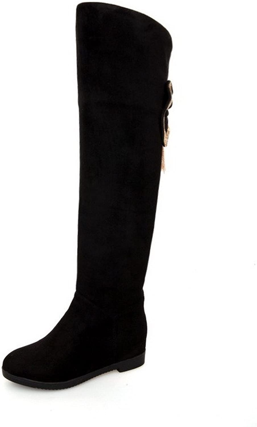 WeenFashion Women's Kitten-Heels Frosted High-top Solid Pull-on Boots