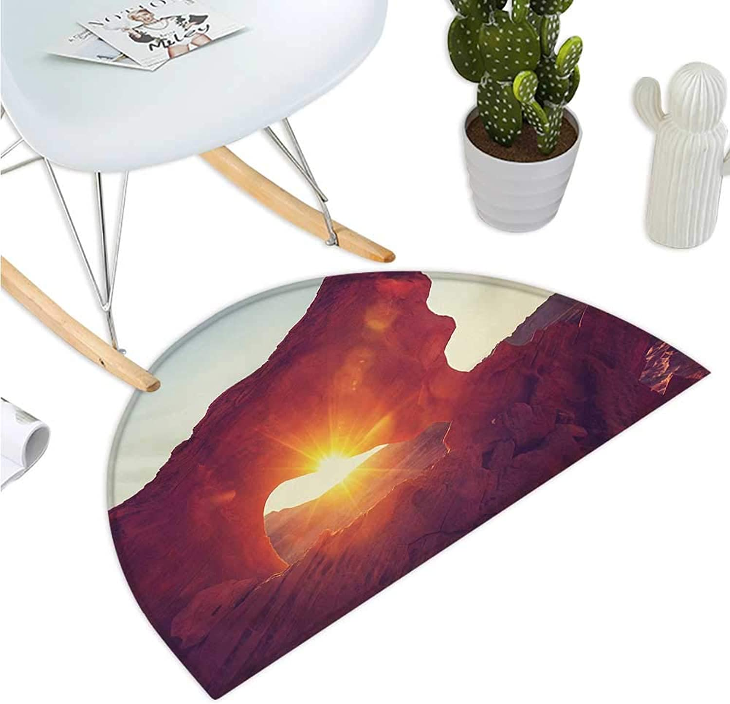 Canyon Half Round Door mats Sun Reflections Over Ancient Cave Shaped Little Cliff Hot Region Artifact Photography Bathroom Mat H 39.3  xD 59  orange