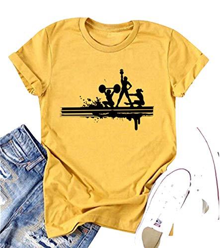 Kniebeugen/Kurzhantel/Yoga/Graphic Shirt für Sportliebhaber, Damen, Athletik-Spirit, kurzärmlig, O-Ausschnitt - Gelb - X-Groß