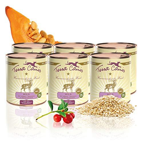 Terra Canis Classic Nassfutter I Reichhaltiges & gesundes Premium Hundefutter in echter Lebensmittelqualität mit Wild, Kürbis & Preiselbeere I 6 x 800g, allergenarm, getreidearm & glutenfrei