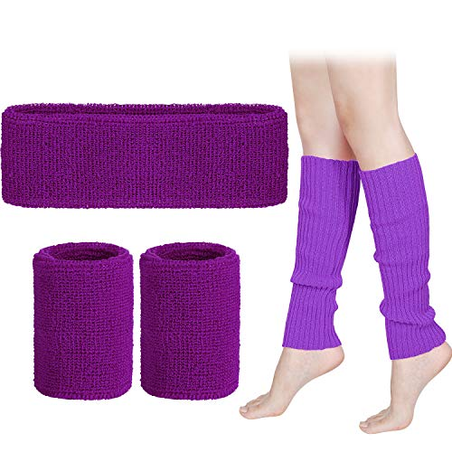 Leg Warmers Set Women 80s Neon Knit Leg Warmers Running Headband Wristbands (Purple)