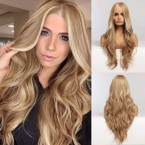 EMMOR peluca rubia larga para mujer - Pelucas de cabello ondulado natural con parte media, uso diario para cosplay de fiesta