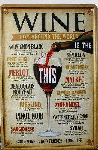 Vintage Style Wine Around the World Retro METAL Wall Poster Sign Plaque 30x20cm by Kb