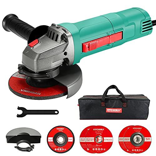 Amoladora Angular 900w, HYCHIKA Amoladora Pequeña, 2 Cubiertas Protectoras con 5 discos Ø 125mm para Esmerilado / Pulido / Corte