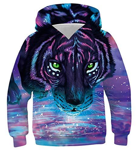 Funnycokid Unisex Kinder Pullover Hoodie 3D Lion Grafik Jungen Mädchen Kapuzenpullover Lustige Top Sweatshirt Pullover Alter 145-155