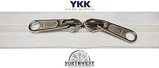 YKK #5 CN Zipper coil chain. Each yard comes with 1 slider. (White, 10 yards, 10 nickel sliders)