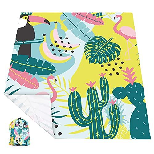 KUYOU Picknickdecke 225 x 165 cm, Stranddecke wasserdichte, Sandabweisende Campingdecke 4 Befestigung Ecken, Ultraleicht kompakt Wasserdicht und sandabweisend (Mehrfarbig/Flamingo)