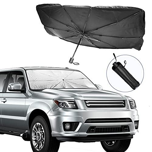 Auto Windschutzscheiben Sonnenschutz, Faltbarer Reflektor Sonnenschirm, Blockiert UV-Strahlen Sonnenblenden-Schutz, um Ihr Fahrzeug kühl und schadensfrei zu halten, 135 x 79...