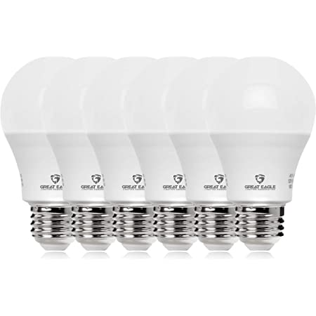 GREAT EAGLE LIGHTING CORPORATION 100W Equivalent LED Light Bulb 1500 Lumens A19 5000K Daylight Non-Dimmable 15-Watt UL Listed (6-Pack)