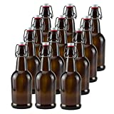 16 oz Amber Glass Beer Bottles for Home Brewing 12 Pack with Flip Caps