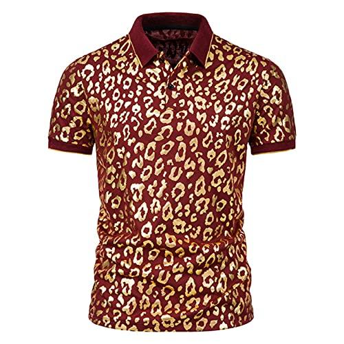 BIBOKAOKE Kurzarmhemden Herren shirts Klassisch Leopard Spinnennet Bronzieren Bedrucktes T-Shirts Sommer Revers hemd Basic Slim Fit Casual Business Arbeit Kurzarm Freizeit Sportshirt