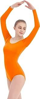 SUPRNOWA Women's Scoop Neck Lycra Spandex Long Sleeve Leotard