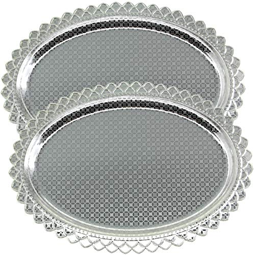 Maro Megastore Pack of 2 15 Inch x 11 Inch Oblong Chrome Plated Serving Tray Stylish Design Floral Engraved Edge Decorative Party Birthday Wedding Dessert Buffet Wine Platter Plate Dish CC-712