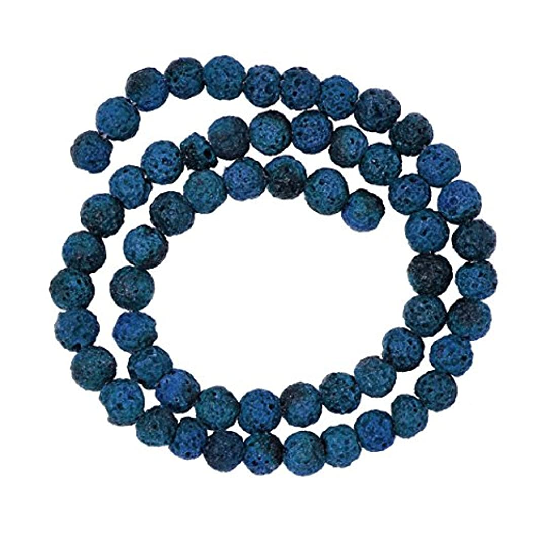 Mandala Crafts 6 8 10 12 14mm Lava Rock Stones Round Ball Beads for Essential Oil Diffuser Bracelet Necklace (6mm, Blue)