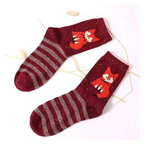 Yjswkfi Medias de Navidad Las Mujeres de Lana Gruesa de algodón Gir Calcetines otoño Invierno de Harajuku Animales Fox Lobo Rayas Medias Preciosa Linda de la Navidad (Color : 12)