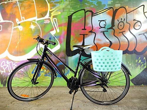 HAPO-G Trendy One Unisex Adult Bicycle Basket with Luggage Rack, Light Blue, 13.5 Litres