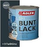 ADLER 5in1 Buntlack für Innen und Außen - Matt - 125ml- Wetterfester Lack und Grundierung für Holz, Metall & Kunststoff RAL7016 Anthrazitgrau
