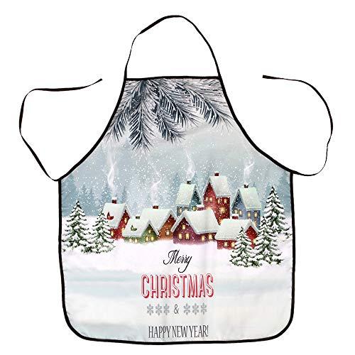 YSFWL Weihnachten Schürze,Unisex Schürzen Kittelschürze Weihnachtsschürze Schürze Dekorative Grillschürze Küchenschürze Kochschürze Santa Schneemann Latzschürze Bar Bistroschürze 70x80cm
