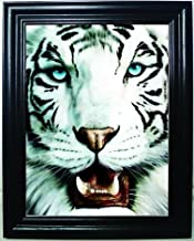 WHITE TIGER 3D FRAMED Wall Art-Lenticular Technology Causes The Artwork To Have Depth and Move-HOLOGRAM Style Images-HOLOGRAPHIC Optical Illusions By THOSE FLIPPING PICTURES