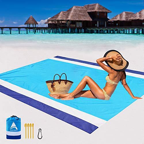 AISPARKY Beach Blanket Oversized 82' X79' Sand Proof Beach Mat Outdoor Picnic Mat for Travel, Camping, Hiking