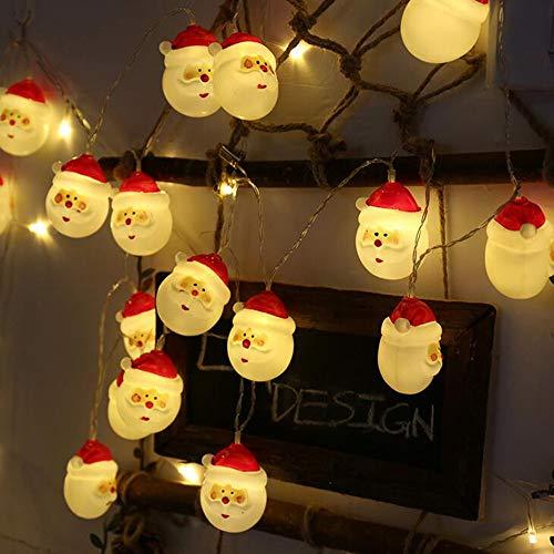 Keepwin String Lumière Maison Décoration 4m Noël Lumières Santa Claus Bonhomme De Neige Chambre Scène Décoration Lampe Chaîne(4M,A)
