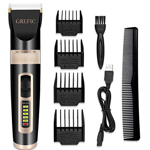 GREFIC Cortapelos Electrónico Maquinilla Cortar Pelo Ajustable indicador LED con 4 Peines Adecuado para Barba, Mudo, Con cable de carga USB, 4 Horas de Uso