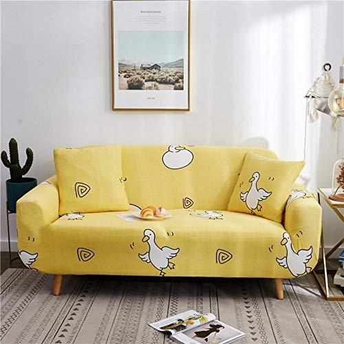 YQTYGB Couchhusse Spannbezug 2 Sitzer,Gelbe EnteSofabezüge 145-190cm,Sofabezug Stretch, Antirutsch Sofahusse Sofa Cover Elastische,Polyesterfaser Couch Uberzug.