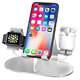 【WIDE COMPATIBILITY】: Compatible with Apple Watch Series 5/4/3/2/1 (38-44mm), Airpods, iPhone, iPad (7.9-9.7 inch), all Android Smartphone and most Tablets (up to 10.5 inch) even the heavy case on. Excellent combination of iPhone stand & Apple watch ...