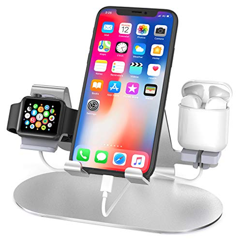 Charger Stand for Apple Watch iPhone & Airpods,3 in 1 Aluminum Charging Dock Holder for iPad,iWatch Series 6/SE/5/4/3/2/1,AirPods Pro/2 and iPhone Series 12/11/Xs/X/8/7/6s (Charger & Cables Required)